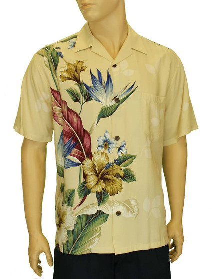 Birds of Paradise Hibiscus Hawaiian Shirt 100% Rayon Poplin Genuine Coconut Buttons Shirt Cut – 1 Size Larger Matching left pocket Color: Beige Sizes: S - 3XL Care: Hand Wash Cold – Line Dry Made in Hawaii - USA