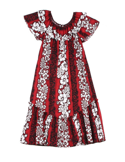 Luna Short Muumuu with Ruffled Bust Line and Hem 100% Cotton Fabric Pullover Style & Side Pocket Elastic Bustline & Ruffled Hem Color: Red Sizes: S - 2XL Made in Hawaii - USA