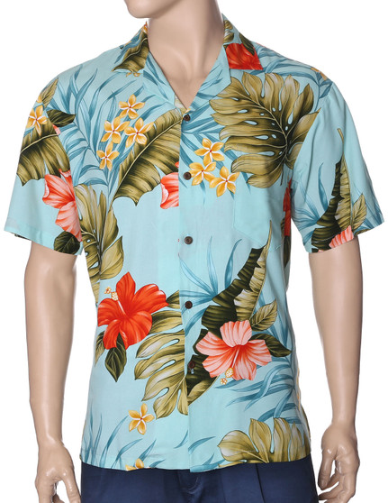 Rayon Hawaiian Shirt Waipio Hibiscus  100% Rayon Fabric. Cool and Comfortable Open Pointed Folded Collar. Relaxed Fit Genuine Coconut Shell buttons. Matching left pocket Care: Dry-clean or hand wash in cold water. Air-dry Colors: Aqua Sizes: S - 3XL Made in Hawaii - USA