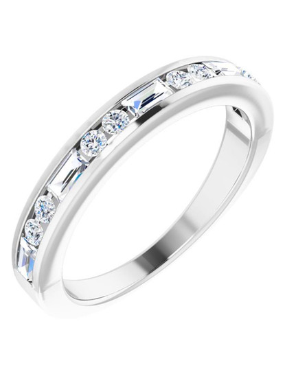 White Gold Diamond Wedding Band 14K Ku'u Lei This 2.5mm white gold wedding band has multiple diamonds SI1, G-H color .50 CTW, unique and striking to the touch!