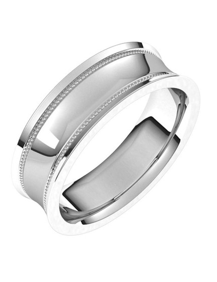 Men Wedding Band 14K White Gold 6mm Aloha This 6mm 14k white gold wedding ring for Men Milgrain concave with edge bands, easy to wear!