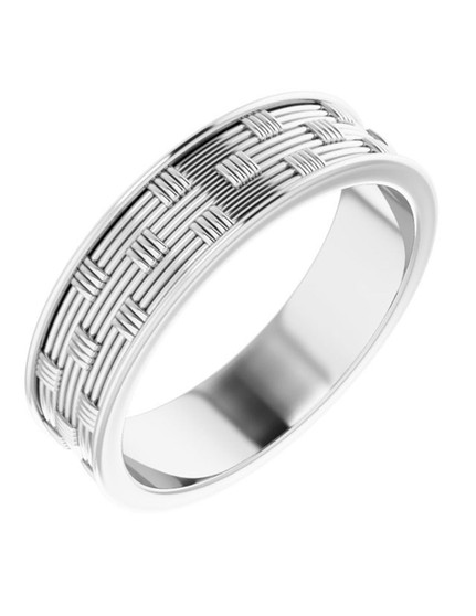 14K Men White Gold Wedding band 6mm Mana Maze This 14k white gold Men's wedding ring is 6mm created with a maze pattern, ultimate style!