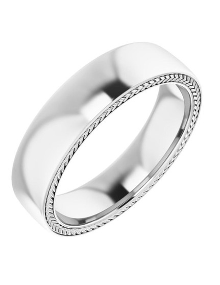 White Gold 14K 6mm Wheat Band Pattern Wedding Ring