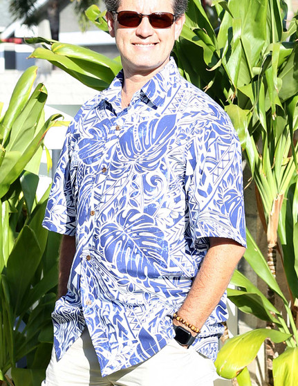 35% Polyester and 65% Cotton Button Up - Dress Shirt Style Non Iron Dress Shirt - Wrinkle Free Coconut shell buttons - Matching left pocket Color: Navy Sizes: M - 2XL Made in Hawaii
