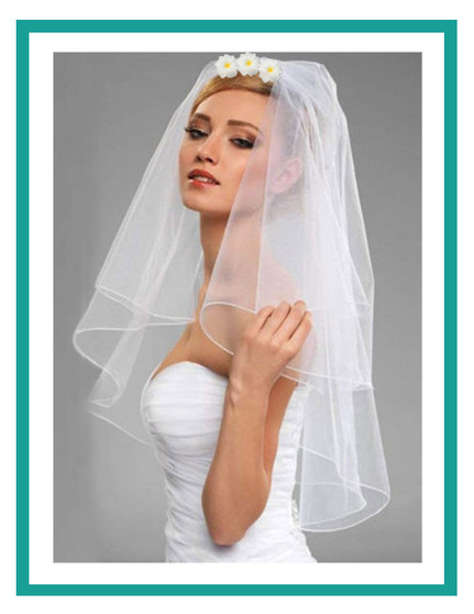Short Veil with Plumeria Flowers | A Casual Veil Elbow Length 100% Tulle Fabric Elbow Length - Single-Tier Transparent Secure Hair-Comb    Color: White Casual, Yet Perfect for the Occasion!