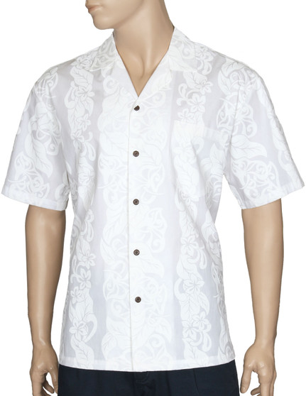 100% Cotton Fabric Open Pointed Folded Collar Genuine Coconut Buttons Seamless Matching Left Pocket Color: White Sizes: S - 3XL Care: Machine Wash Cold, Cool Iron Made in Hawaii - USA