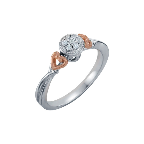 Diamond Promise Ring with Rose Gold Hearts 10K White Gold Promise ring with rose gold hearts accents on each side. 1/10 CT diamond total weight