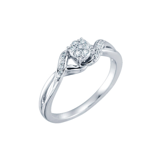 Diamond Cluster Promise White Gold Ring 10K White Gold Promise ring with diamond cluster 1/8 CT diamond total weight