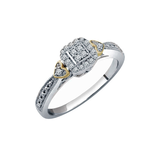 White Gold Promise Ring Diamond Cluster and Side Hearts 10K White Gold Promise ring with 1/6 CT diamond total weight and yellow gold hearts accents
