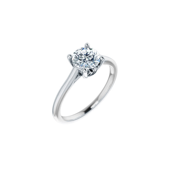 14K White Gold Engagement Ring Solitaire with Crown Setting Lab-Grown Diamond VS1 Clarity, H Color, Round Diamond 1.04 CT TW