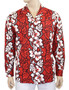 Hawaii Long Sleeve Aloha Red Shirt 100% Cotton Fabric Open Collar Modern Fit Coconut shell buttons Matching left pocket Color: Red Sizes: M - 2XL Made in Hawaii - USA