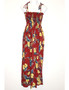 Okalani Long Maxi Smock Top Spaghetti Dress To Wear with Straps or Strapless 100% Rayon Fabric Style: Long Maxi Color: Red Length: 47-48 Inches From Bust Line Size: One Size fits most Made in Hawaii - USA