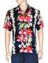 Plumeria Orchid Panel Aloha Shirt Navy 100% Rayon Fabric Matching Left Pocket Coconut shell buttons Colors: Navy, White Sizes: S - 3XL Made in Hawaii - USA