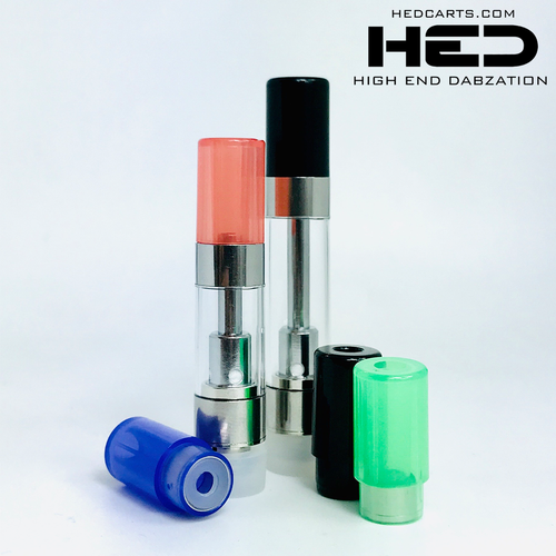 High End Dabzation 0.5mL Silver Pressurized Cartridges with multi color round tips.