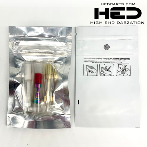 mylar bags for cartridges, edibles, wax, distributed by High End Dabzation