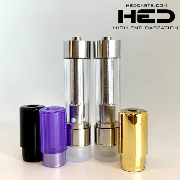 High End Dabzation 0.8mL Silver Pressurized Cartridge with multi color round tips.