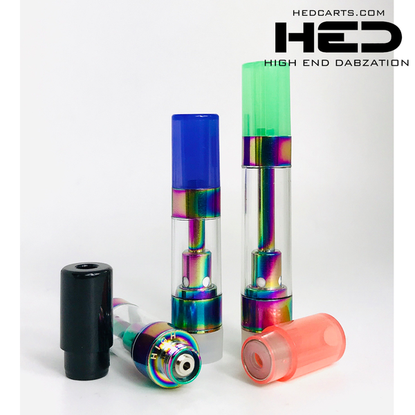 High End Dabzation 0.5mL Rainbow Pressurized Cartridges with multi color round tips.