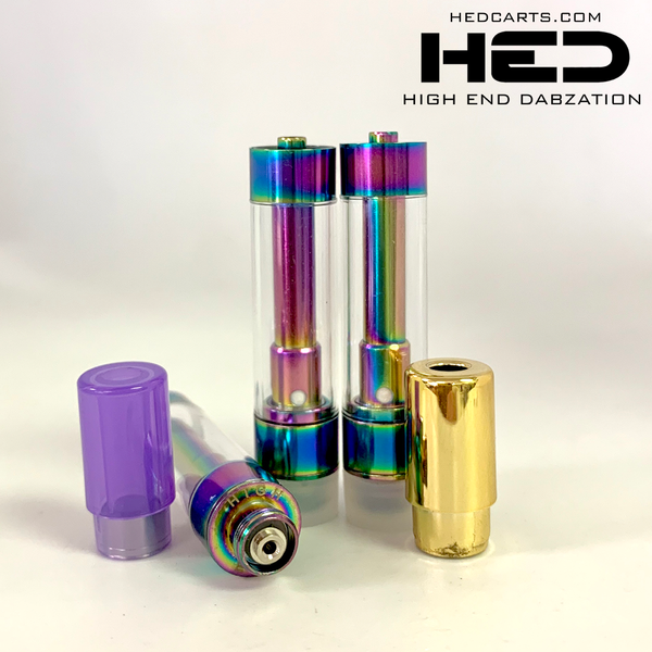 High End Dabzation 0.8mL Rainbow Pressurized Cartridges with multi color round tips.