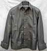 Mens lambskin leather shirt LS060 dark gray with French Cuffs frontk pic