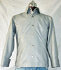 Mens lambskin leather shirt LS060 light gray with French Cuffs front pic