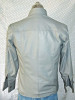 Mens lambskin leather shirt LS060 light gray with French Cuffs back pic