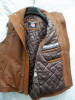 Snuff brown leather long vest style MLVL13 WWW.LEATHER-SHOP.BIZ left inside pic