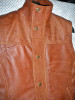 Snuff brown leather long vest style MLVL13 WWW.LEATHER-SHOP.BIZ buttoned collar pic