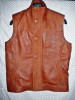 Snuff brown leather long vest style MLVL13 WWW.LEATHER-SHOP.BIZ front buttoned pic