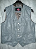 Leather vest style MLV720 Gray WWW.LEATHER-SHOP.BIZ front 2 pic