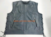 MENS LEATHER VEST BRAIDED STYLE MLVB750 TWO COLOR gray and black leather front of vest pic