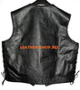 Mens leather vest with braid style MLVB734 Black color braid no seams on back pic