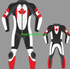 Leather racing suit custom made Maple Leaf - style MS067CF
