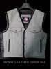 Biker leather vest style 1301 gray and black leather and black braid