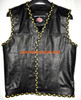 Mens leather vest with 2 color braid style MLVB1299 hidden front zipper and no seams on back  WWW.LEATHER-SHOP.BIZ front pic