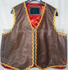 Mens leather vest with braid style mlvb725 front pic 2