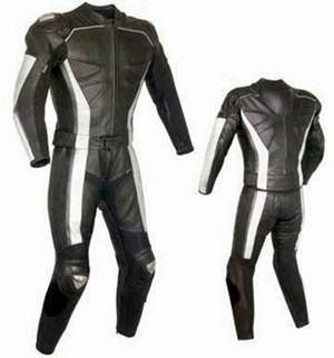 Costum de piele de curse personalizat - stil MS319 WWW.LEATHER-SHOP.BIZ fata + spate pic
