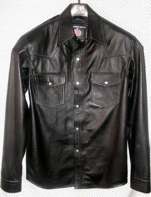 Camisa de cuero LS014 WWW.LEATHER-SHOP.BIZ disponible en colores 8 hechos a medida en la foto frontal