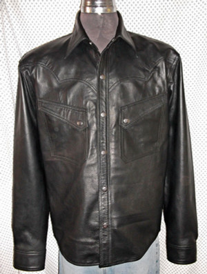 LS037 leather shirt WWW.LEATHER-SHOP.BIZ front pic