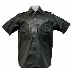 Cămăși din piele cu mânecă scurtă, stil LS201 personalizat, realizat pe partea din față a imaginii camasului