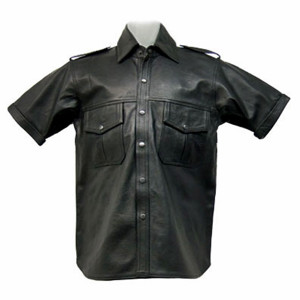 Leather shirt with short sleeves style LS201 custom made www.leather-shop.biz front of shirt image