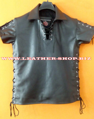 Leather Short Sleeve Shirt With Laces Style LS221 Custom Made