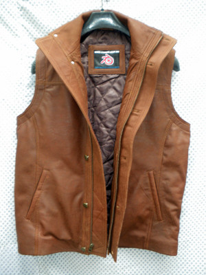 Snuff brown leather long vest style MLVL13 WWW.LEATHER-SHOP.BIZ front pic
