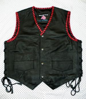 Mens Leather Vest Braided Biker Style MLVB732 Custom Made All Colors