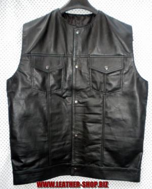 Кожена риза без ръкави LS260 без стил на яка, WWW.LEATHER-SHOP.BIZ фронт pic