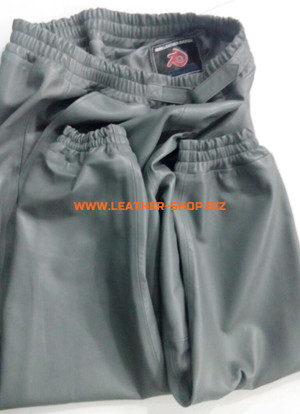 Gray leather sweat pants style LSP006 WWW.LEATHER-SHOP.BIZ custom made pants folded pic