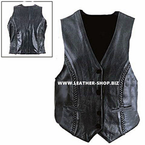 Ladies Leather Vest Style WLV1260 available in all sizes