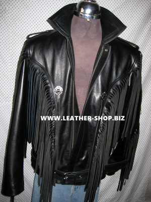 Fringed leather jacket custom made style MLFJ201 black WWW.LEATHER-SHOP.BIZ  front unzipped pic