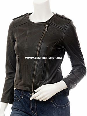кожна јакна женски стил ЛЉ608 јакна сприједа слика