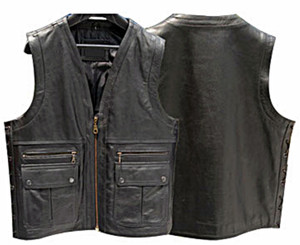 Mens Leather Vest 4 Front Pocket MC Style MLV863 no seams on back