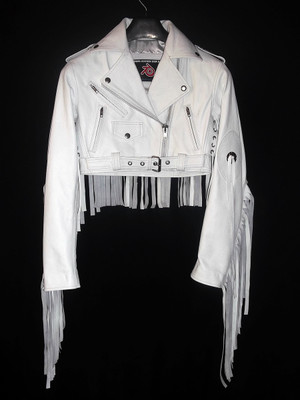 Ladies Leather Fringe Jacket Custom Made Style LLFJ1707S Wa Ni Awọn 9 Awọn awọ